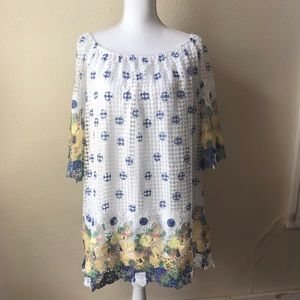 Cato Lace Floral Trimmed Tunic 18/20W White Yellow